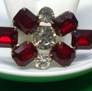 Vintage Ruby Red Brooch Emerald Cut